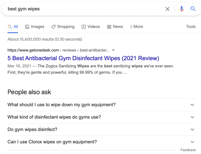 """A search for """"best gym wipes"""" and the results"""