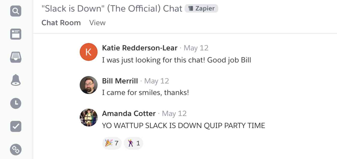 Our improvised Quip chat room