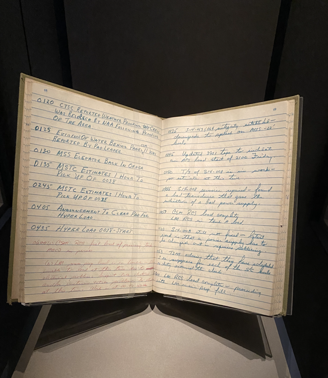 Log book from the Kennedy Space Center