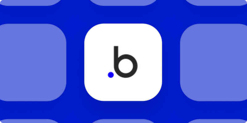 Bubble app logo on a blue background.