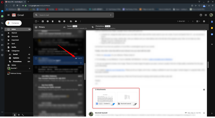 Gmail attachments are visible at the end of the email.