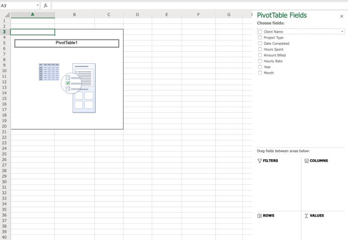 Tabla dinámica en blanco con editor de tabla dinámica a la derecha