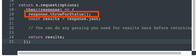 Highlighted code reads: response.throwForStatus();