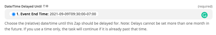 An event end time from Calendly selected as the time to delay a Zap.