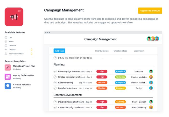Campaign management template