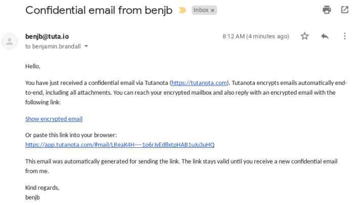 Tutanota within Gmail