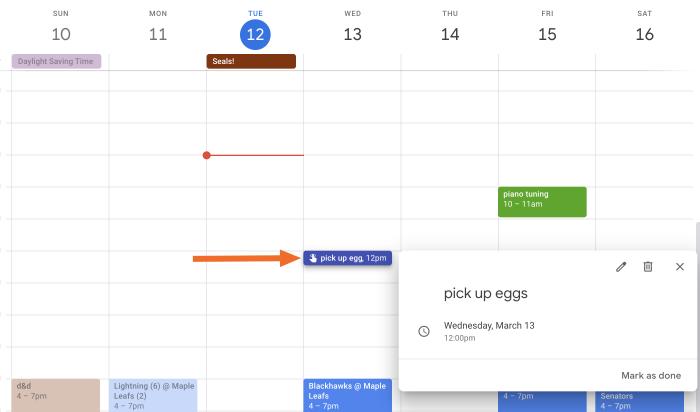 Google Calendar Remidners done