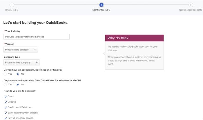 QuickBooks setup screenshot
