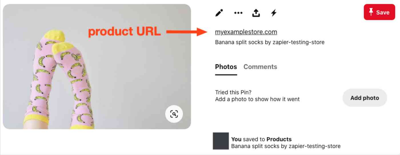 A screenshot of a Shopify product as a Pinterest pin. An arrow shows where the link configured through your Zap will appear.