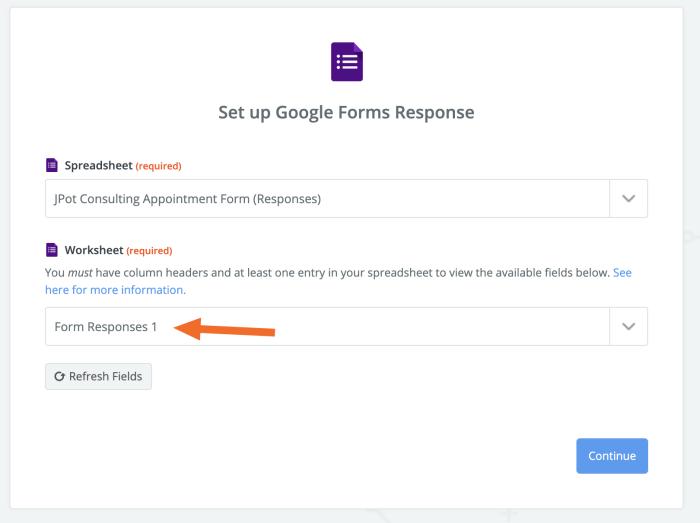 Google Sheets form responses