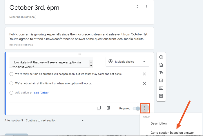 Screenshot of the Go to section feature in Google Forms