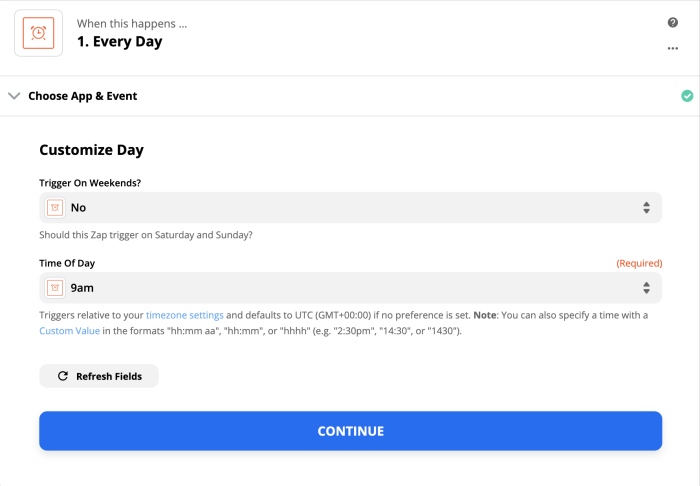 Use Schedule by Zapier to trigger the Zap at the start of each workday
