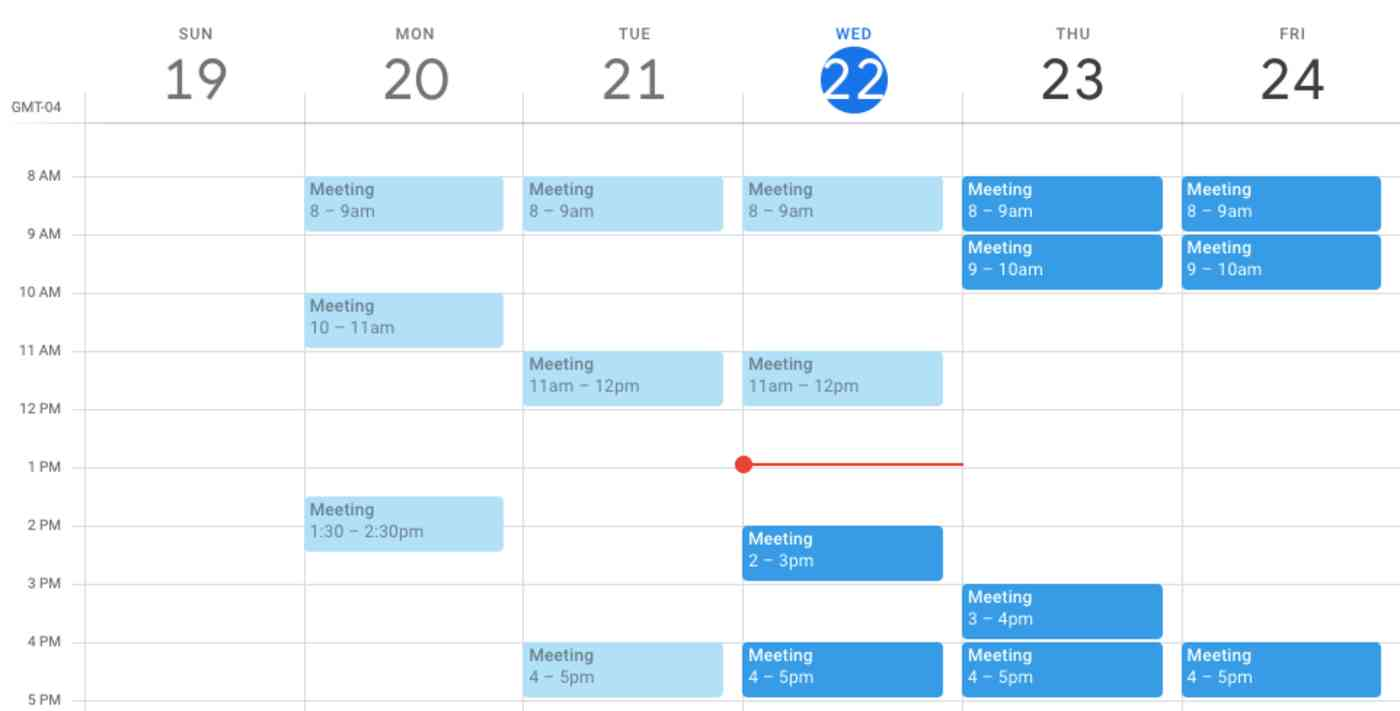 Google Calendar screenshot where only meetings are scheduled