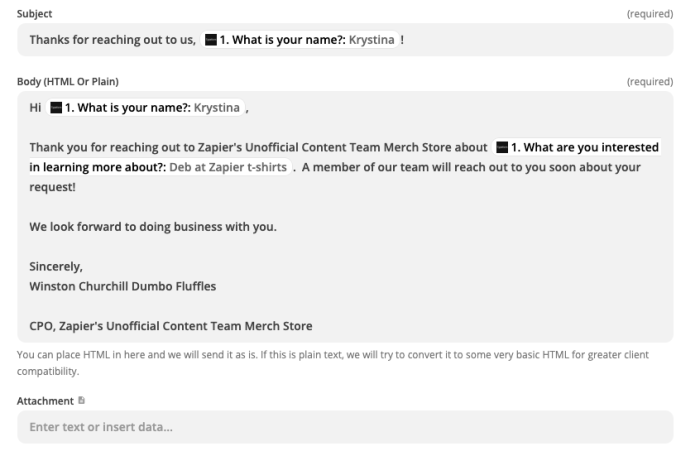 An email message written out in the Zap editor. The message includes static text and dynamic inputs from Typeform.