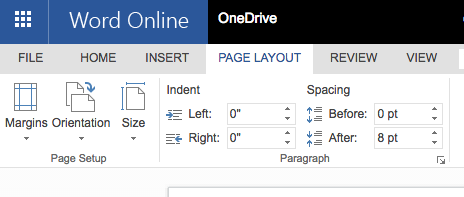 Word Online Page Layout