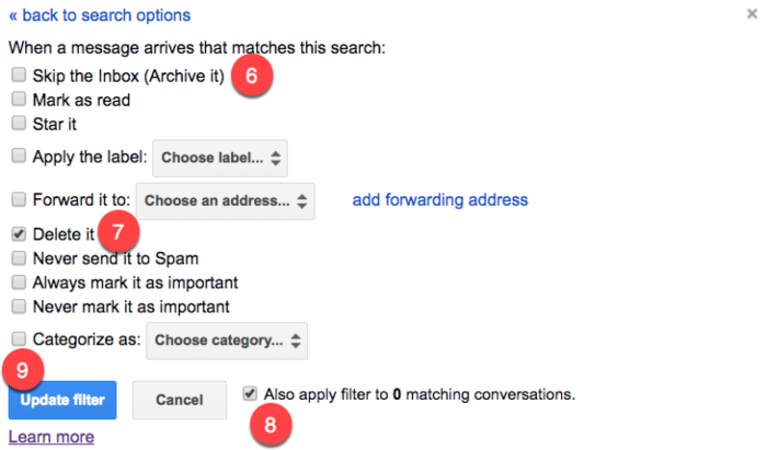 Use a Gmail filter to