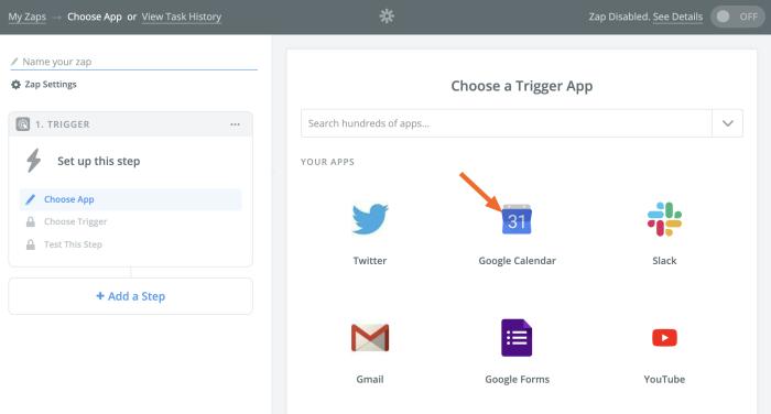 Elija Google Calendar como su aplicación de activación