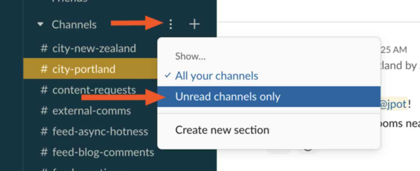 Show only unread channels in Slack