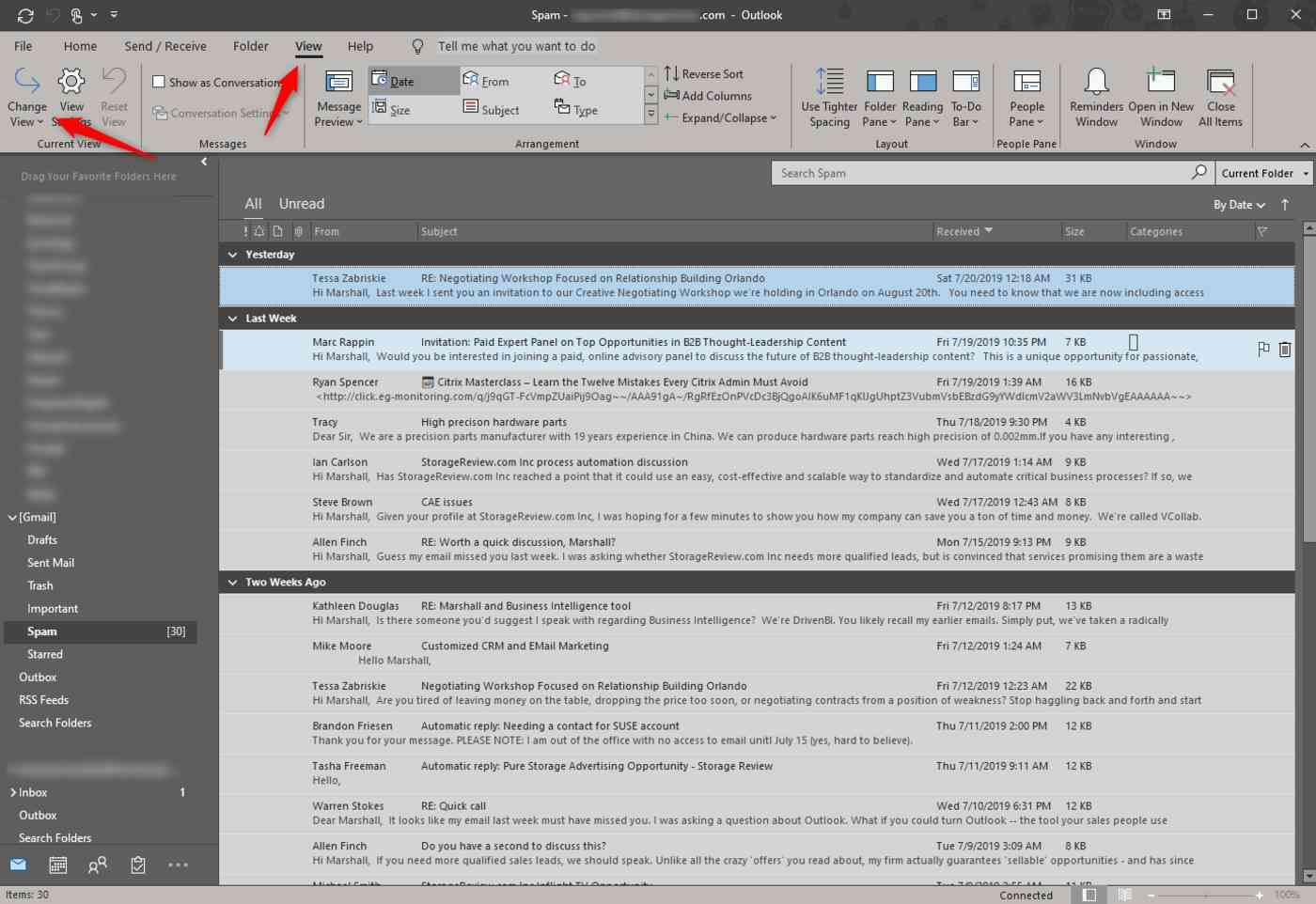 Outlook allows you to change the way you view emails.