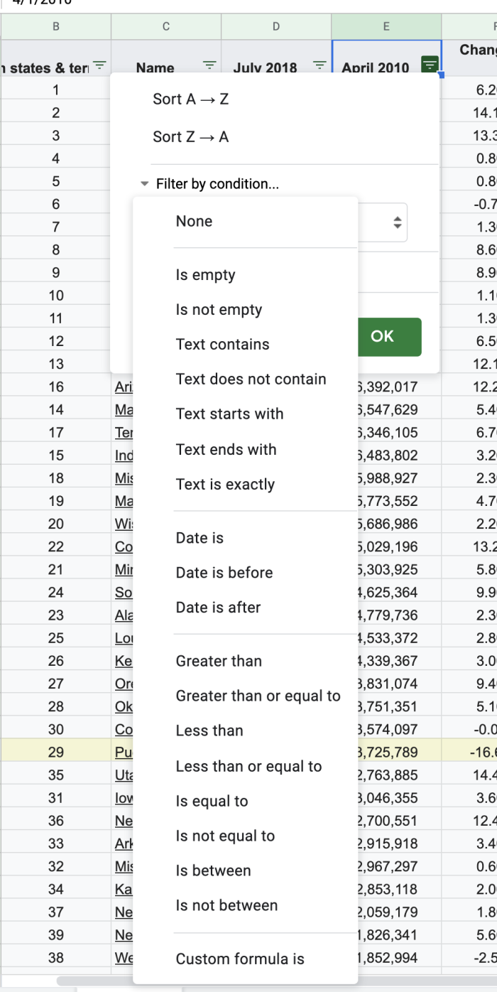 Filter by Condition in Google Sheets