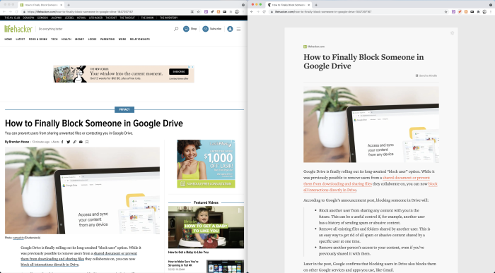 No reader mode view side-by-side with reader mode using a Chrome extension