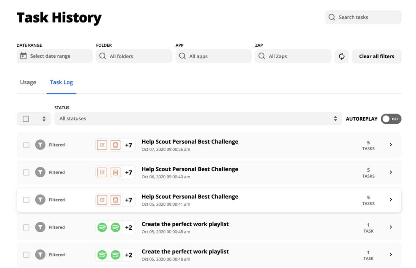 The Task History page