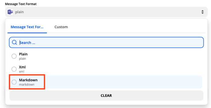 A screenshot of message format options for Microsoft Teams in the Zap Editor. Markdown is selected.