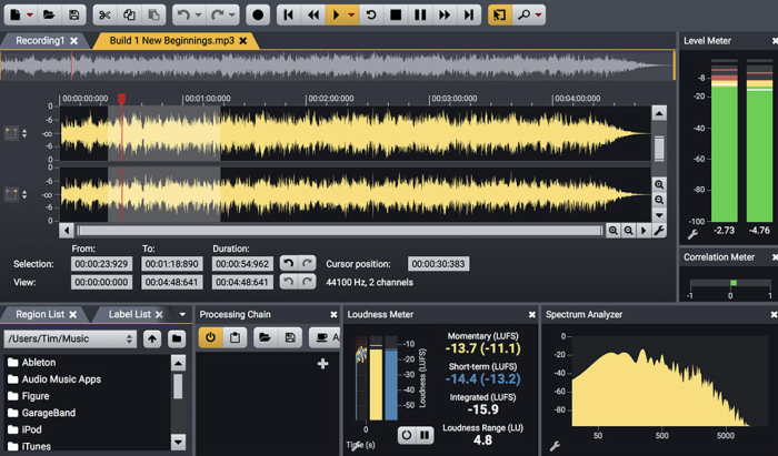 Acoustica Standard Edition interface