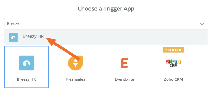 Selecting your trigger app