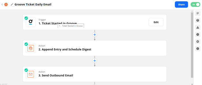 """Zap set-up with trigger of """"Ticket started in Groove"""" and action of """"Send outbound email"""""""