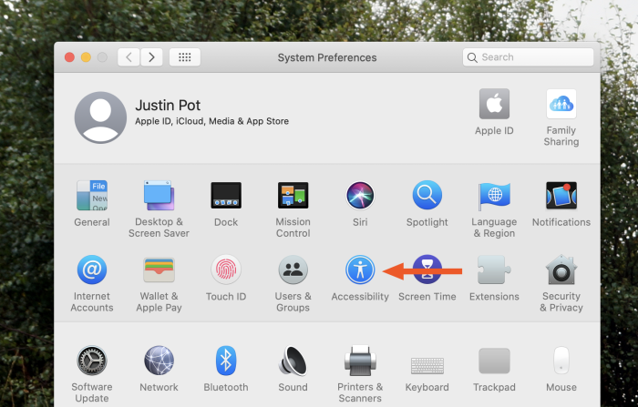 Acessibility features on macOS