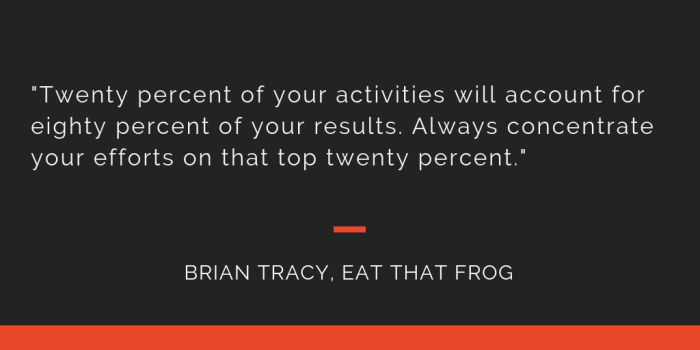 Eat That Frog principle 3: Twenty percent of your activities will account for eighty percent of your results. Always concentrate your efforts on that top twenty percent.