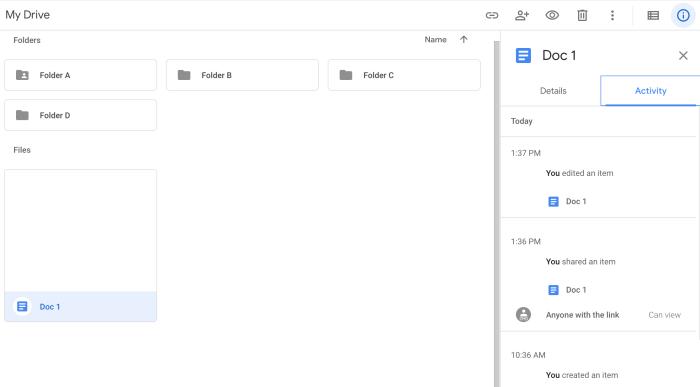 File history on Google Drive