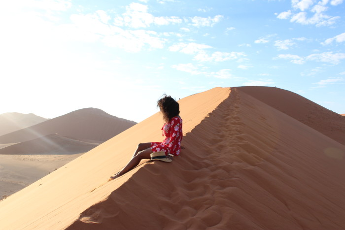 Judith on a dune in Namibia