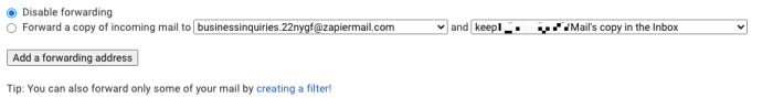 The new forwarding address as it appears in Gmail's settings.