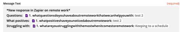 """Test data in a Zapier action step. The text reads """"Questions:"""" then there is a small Google Forms logo followed by """"1. whatquestionsdoyouhaveaboutremoteworkthatwecanhelpyouwith: test 2"""". The text that follows the logo is pulled in from a form."""