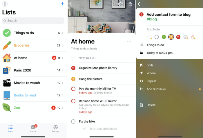Pocket Lists screenshots