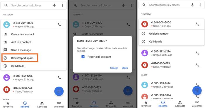 Bloquear un número de teléfono en un teléfono Android