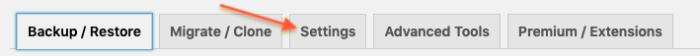 Settings tab