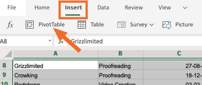Insertar tabla dinámica desde la barra de herramientas