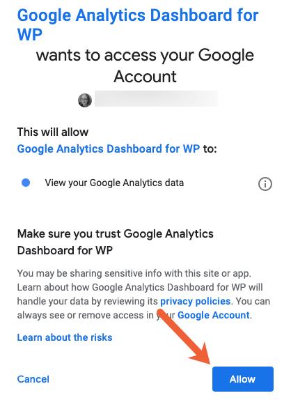 allow GADWP access to Google Analytics