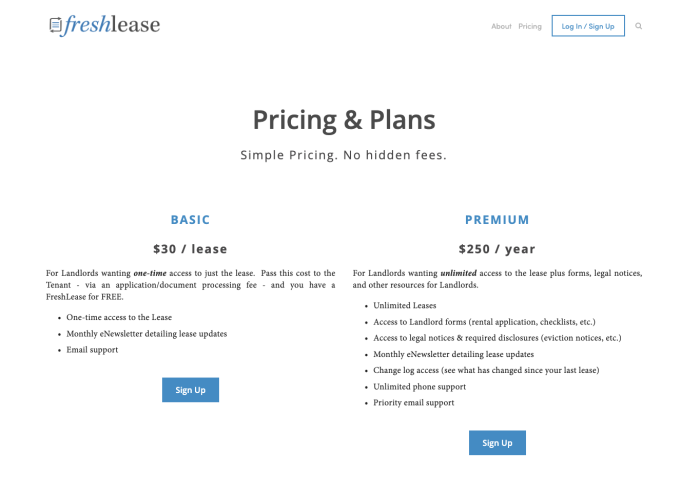 The pricing page from FreshLease.com