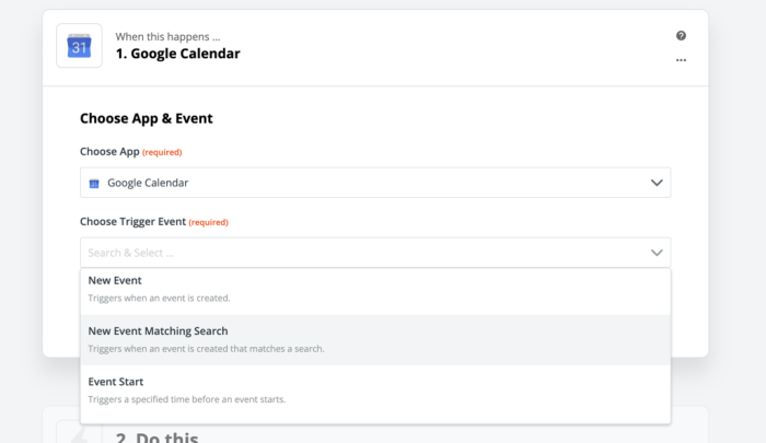 New Event Matching Search Google Calendar action in Zapier