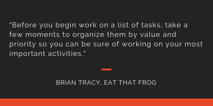 Eat That Frog principle 6: BEfore you begin work on a list of tasks, take a few moments to organize them by value and priority so you can be sure of working on your most important activities.