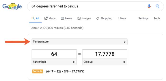 Google search results unit converter