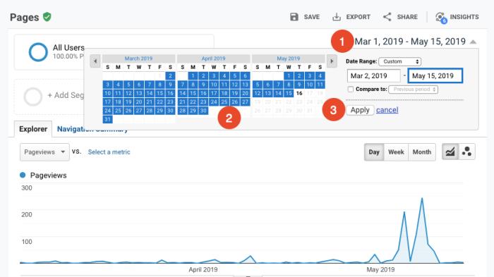 adjust report dates in google analytics