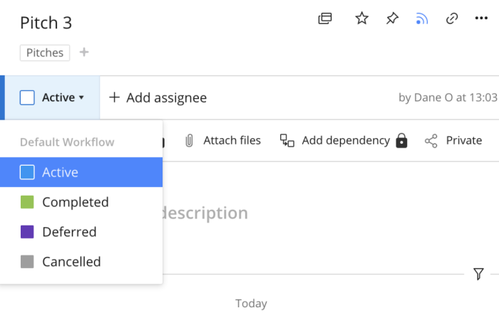 Changing status in list view