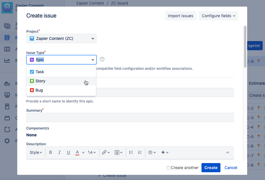 select issue type in Jira