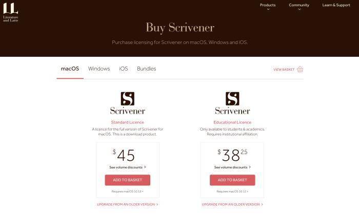 Scrivener student discount