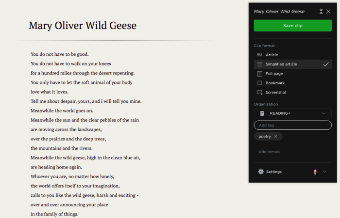Evernote web clipper, poetry example, 2018